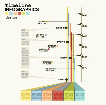 Timeline Infographic with diagrams and graphics in flat design style Vector