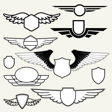 Rétro insignes ou marques de fabrique avec des ailes fixées sur fond blanc. Vector design elements, affaires signes, logos, identité, étiquettes, écussons et objets.