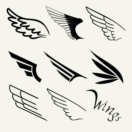 Vleugels ingesteld op een witte achtergrond, vector