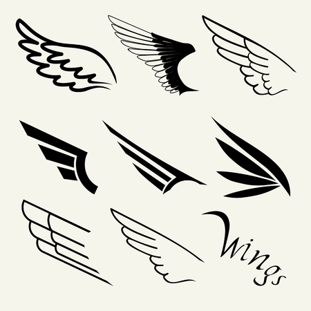 Wings set on white background, vector Ilustração