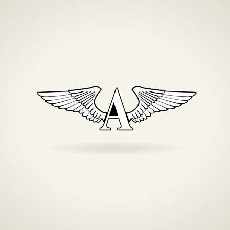 Classic emblem or blank for logo. Beautiful angel wings and the letter A. The letter can be changed. Vector