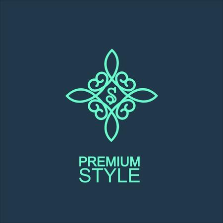 feminine: Stylish and graceful floral monogram design , Elegant line art logo design, vector template Illustration