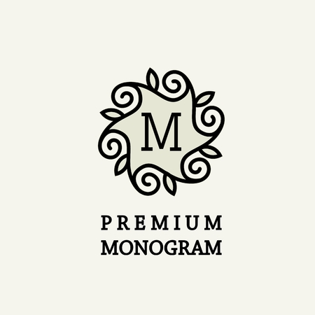 stylish: Stylish and graceful floral monogram design , Elegant line art logo design, vector template Illustration