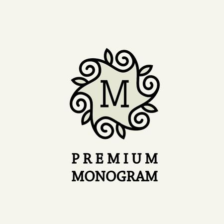 stylish decoration: Stylish and graceful floral monogram design , Elegant line art logo design, vector template Illustration