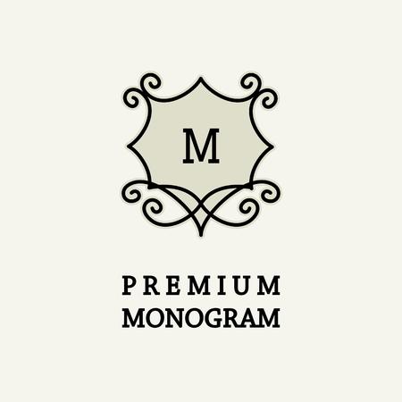 Stylish and graceful floral monogram design , Elegant line art logo design, vector template Vector
