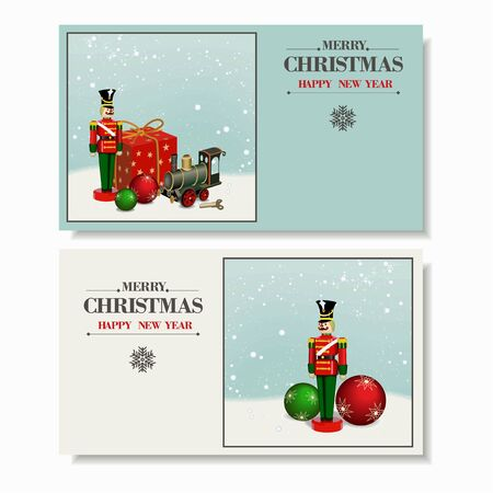 nutcracker: Beautiful set. Christmas and a Happy New Year greeting card. Wooden soldier ,nutcracker, iron train, gift box  and Christmas balls. Vector Illustration