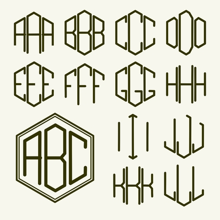 Set 1 sjabloon letters om een monogram van drie letters ingeschreven in een zeshoek in Art Nouveau stijl te creëren