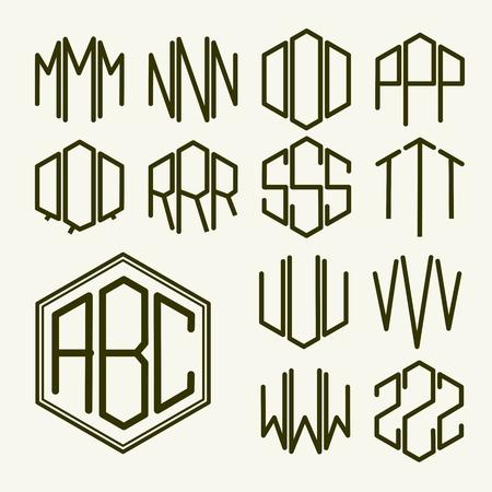Set 2 sjabloon letters om een monogram van drie letters ingeschreven in een zeshoek in Art Nouveau stijl te creëren Stock Illustratie
