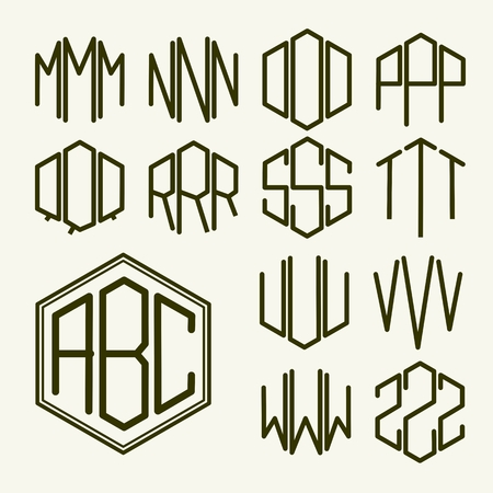 Set 2 template letters to create a monogram of three letters inscribed in a hexagon in Art Nouveau style Illustration