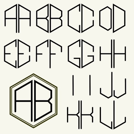 inscribed: Set 1 template letters to create monograms of two letters inscribed in a hexagon in Art Nouveau style Illustration