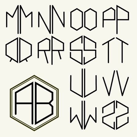 inscribed: Set 2 template letters to create monograms of two letters inscribed in a hexagon in Art Nouveau style Illustration