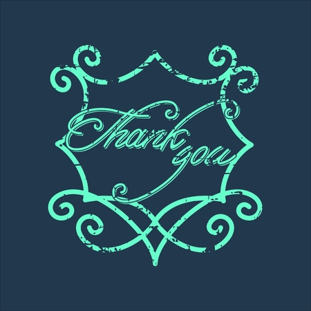positive thought: Vintage Thank You and graceful floral monogram .  Grunge effects can be easily removed for a brand new, clean card.