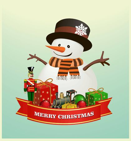 the nutcracker: Merry Christmas and happy new year ribbon banner  with  snowman with gift boxes ,  Wooden soldier ,nutcracker, iron train,  Christmas balls. isolated vector illustration Illustration