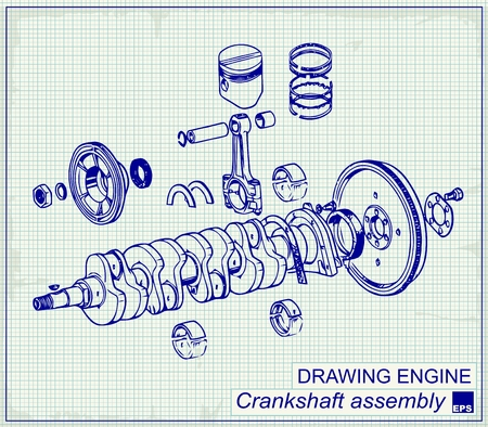 Drawing old engine, Crankshaft assembly, on graph paper.