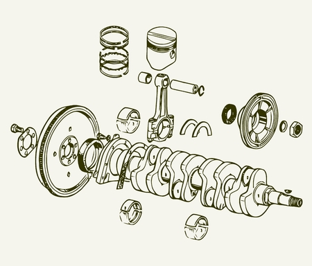 Crankshaft assembly Ilustracja