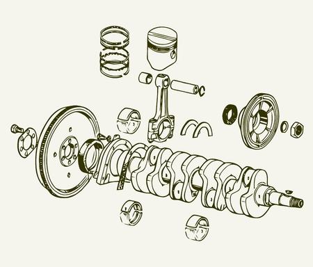 Crankshaft assembly Vectores
