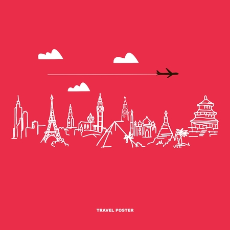 fly around: Travel and tourism poster . Drawn hands world attractions