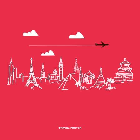 Viajes y turismo cartel. Manos dibujadas atracciones mundo Vectores
