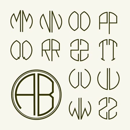 art deco font set template letters to create monograms of two letters in scribed in