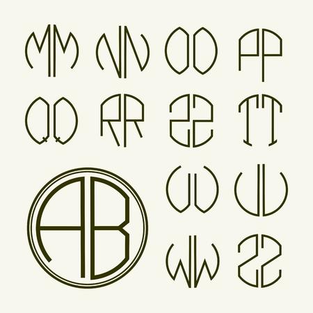 Establecer modelos de cartas para crear monogramas de dos cartas en las describe en un círculo en estilo Art Nouveau