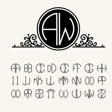 アール ヌーボー様式のサークルで scribed セット テンプレートを作成する文字の 2 文字のモノグラム