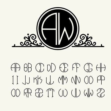 old victorian letter: Set  template letters to create monograms of two letters in scribed in a circle in Art Nouveau style