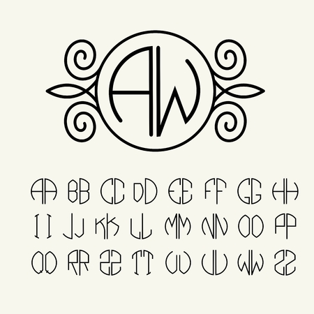 Set  template letters to create monograms of two letters in scribed in a circle in Art Nouveau style