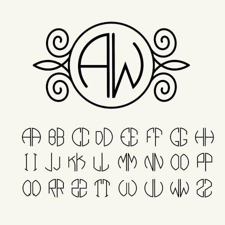 Establecer modelos de cartas para crear monogramas de dos cartas en las describe en un círculo en estilo Art Nouveau Foto de archivo - 34556076