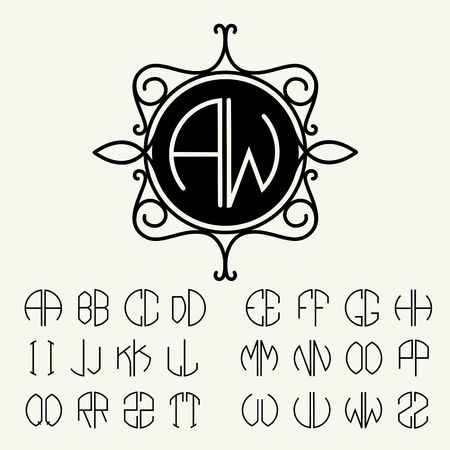 ancient alphabet: Set  template letters to create monograms of two letters in scribed in a circle in Art Nouveau style