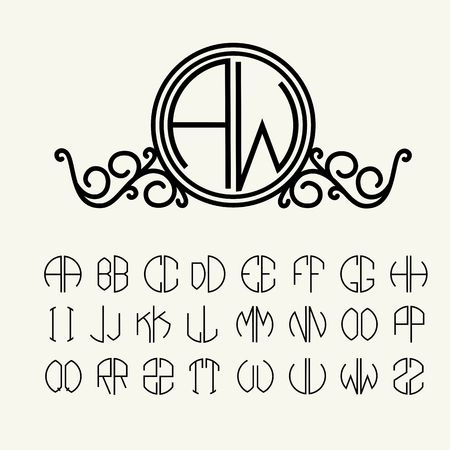 art deco: Set  template letters to create monograms of two letters in scribed in a circle in Art Nouveau style
