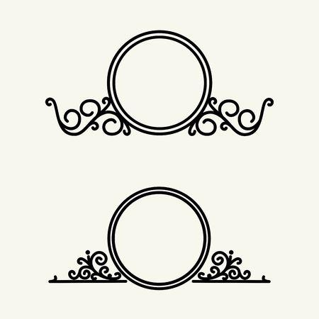 border line: Vintage, stylish and graceful floral  emblem and monogram design , elegant line art  template Illustration