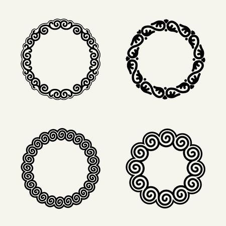 stylish: Set of stylish, simple and graceful  floral monochrome round monogram design Illustration