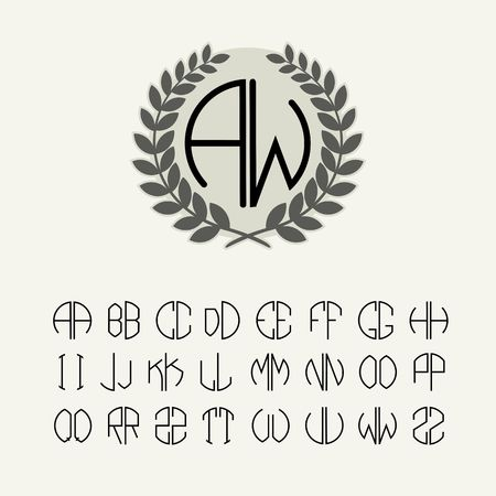personal: Set of templates for creating letters monogram wreath of two letters in the range described in the Art Nouveau