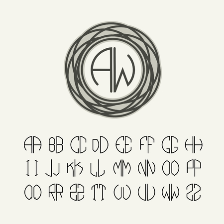initials: Set  template letters to create monograms of two letters in scribed in a circle in Art Nouveau style
