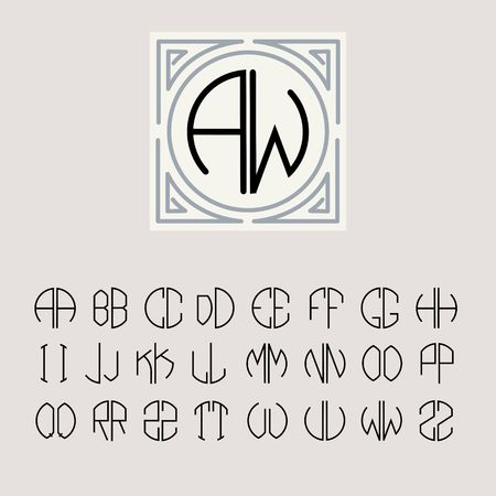 Beautiful Monogram Art Nouveau and a set of templates of letters inscribed in a circle. Vector