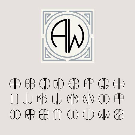 Hermosa monograma Art Nouveau y un conjunto de plantillas de letras inscritas en un círculo. Foto de archivo - 34557676