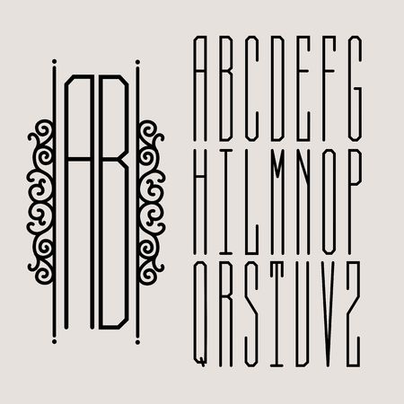 inscribed: Beautiful Monogram Art Nouveau and a set of templates of letters inscribed in a circle.