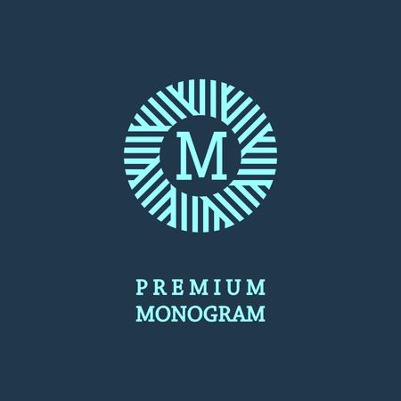 Monograma elegante estilo, elegante diseño icono de la línea de arte de estilo Art Nouveau Foto de archivo - 35999750