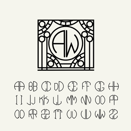 Art Nouveau tarzında bir daire içinde tarif Set şablon harfler iki harften monogramları oluşturmak için Illustration