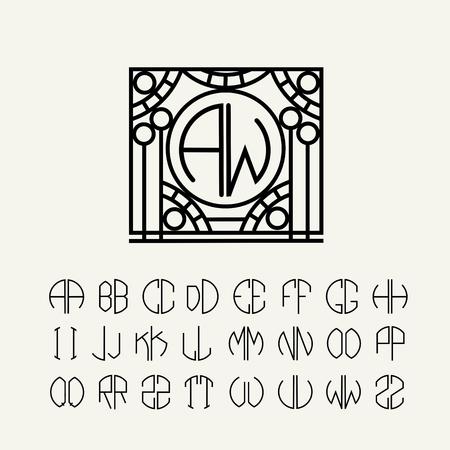 Establecer modelos de cartas para crear monogramas de dos cartas en las describe en un círculo en estilo Art Nouveau Foto de archivo - 35999582