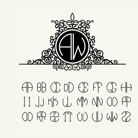 stylish: Stylish  graceful monogram , Elegant line art icon design in Victorian Style