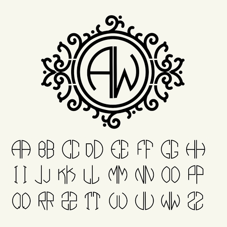 victorian: Stylish  graceful monogram , Elegant line art icon design in Victorian Style