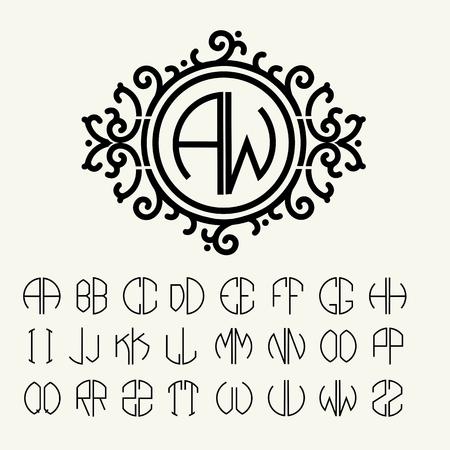 fine lines: Stylish  graceful monogram , Elegant line art icon design in Victorian Style