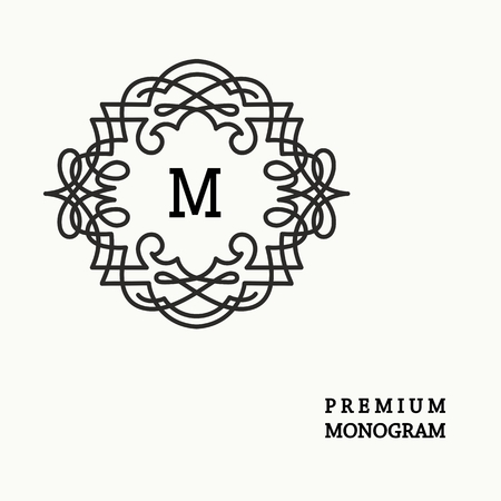 cute border: Stylish  graceful monogram , Elegant line art icon design in Victorian Style