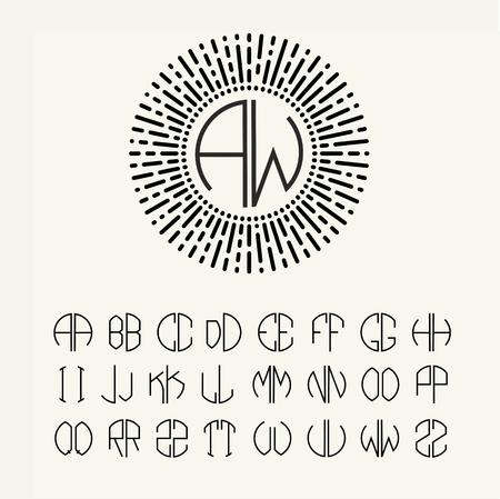 Lettres modèles fixés pour créer des monogrammes de deux lettres décrit dans un cercle de style Art Nouveau