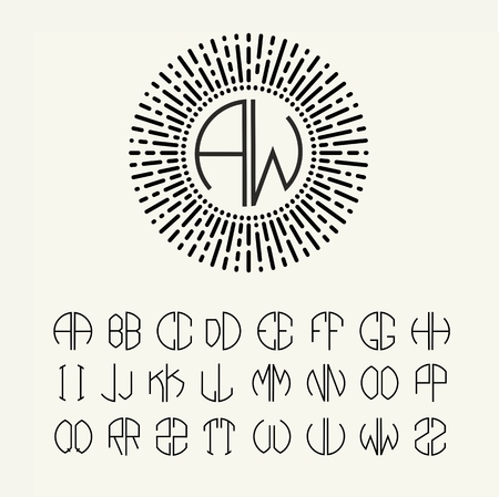 typography: Set  template letters to create monograms of two letters in scribed in a circle in Art Nouveau style