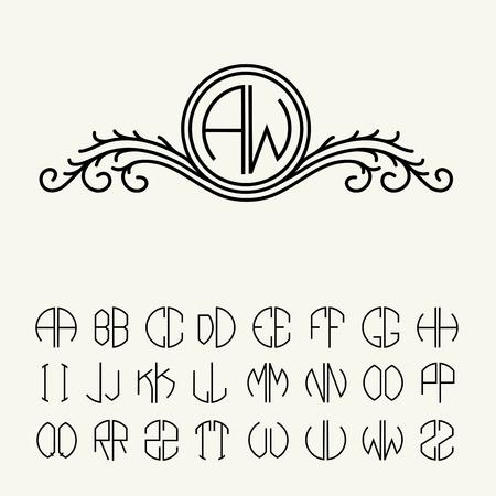 2 文字のモノグラムを作成する設定のテンプレート文字は円でスクライブ。ビクトリア朝様式の優雅なライン アート アイコン デザイン