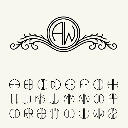 flower font: Set  template letters to create monograms of two letters in scribed in a circle. Elegant line art icon design in Victorian Style