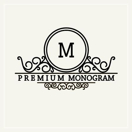 grabado antiguo: Monograma elegante estilo, elegante dise�o icono de la l�nea de arte en el estilo victoriano