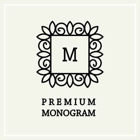 floral abstract: Stylish and graceful floral monogram design , Elegant line art icon design, vector template